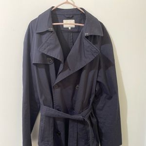 Navy blue double breasted tench coat